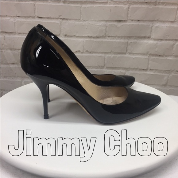 bd38b620d0 Jimmy Choo Shoes - Jimmy Choo Shiny Black Leather Pump Heels 40 | 10